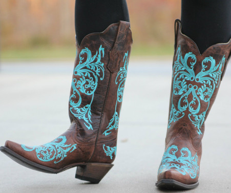 corral brown turquoise dahlia embroidery r1193