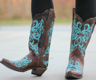 Corral Brown/Turquoise Dahlia Embroidery R1193 Picture
