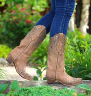 Corral Honey Fango/Bronze Glitter Collar & Wing Tip Boots C2687 Side