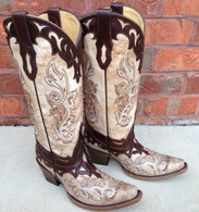 Corral Crackle Bone Tan Studs Boots C2825 Picture