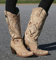 Corral Bone Tan Ethnic Pattern and Whip Stitch Boots C2923 Picture