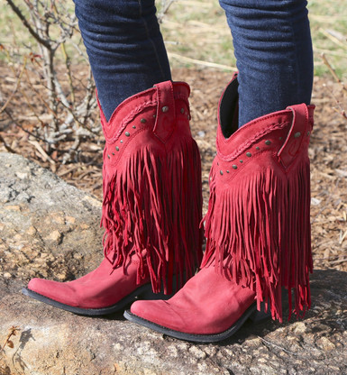 Liberty Black Vegas Red Fringe Boot