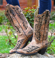Corral Bronze Black Sequence And Crystals Butterfly Boots R1211 Picture