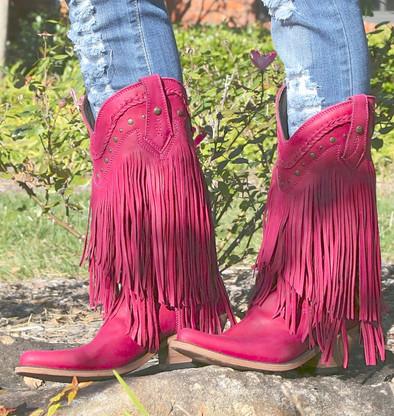 Liberty Black Vegas Fringe Boots Bordeaux Pink LB71124