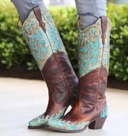 Corral Brown Turquoise Inlay Double Shaft Boots R1332 Picture
