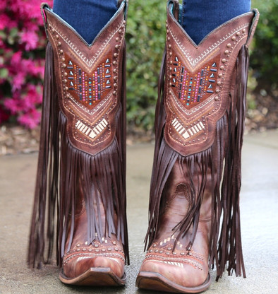 Corral Cognac Multicolors Crystal Pattern and Fringe Boot C2929