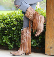 Corral Tan Fringed Layers And Studs Boots C2988 Picture