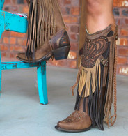 Corral Brown Multi Fringe and Collar Boot R1357 Picture