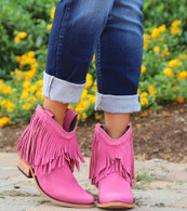 Liberty Black Short Fringe Boots Lipstick LB71129 Picture
