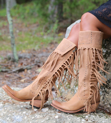 Liberty Black Tall Fringe Zipper Boot LB71167 Tan