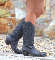 Corral Black Grey Teju Lizard Overlay Boots C1076 Picture