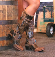 Lane for Double D Ranch Bow Guard Dark Brown Boots DD9045A Picture