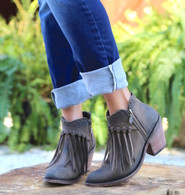 Liberty Black Fringe Zipper Shortie Boot Smog LB712323 Picture