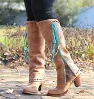 Lane Hoodie Tan with Turquoise Boots LB0309A Picture