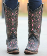 Corral Boots Black Cognac Pink Goat Laser Overlay Main Picture