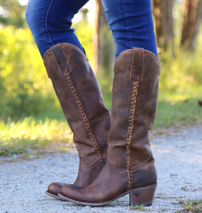 Lane Plain Jane Brown Boots LB0350A Braiding