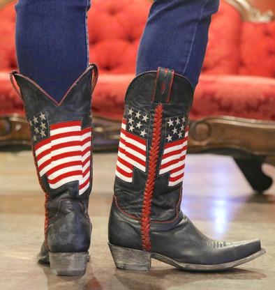 Old Gringo Eleanor Blue Beaded Flag Boots L2961-1 Heel