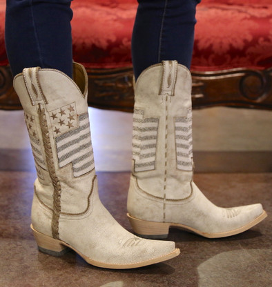 Old Gringo Eleanor Taupe Beaded Flag Boots L2961-2 Picture