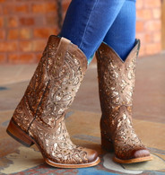 Corral Orix Glittered Inlay and Studs Square Toe Boots C3275 Picture