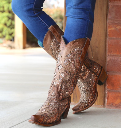 Corral Orix Glittered Inlay and Studs Snip Toe Boots C3331 Picture
