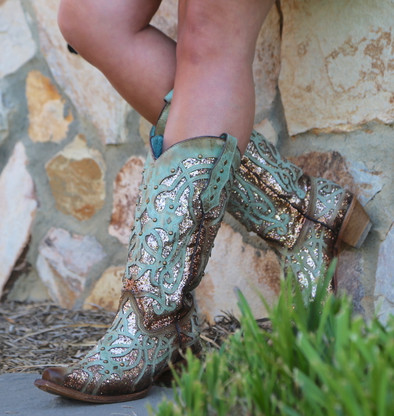 Corral Mint Glittered Inlay and Studs Snip Toe Boots C3332 Picture