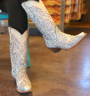 Corral White Turquoise Glitter Chameleon Boot C3377 Indoor Photo Crossed