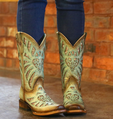 Corral Mint Glittered Inlay and Studs Square Toe Boots C3262 Picture