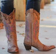 Corral Brown with Pink Heart and Lace Boots Picture