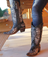 Corral Boots Wing and Cross Black and Bone A1018 Picture