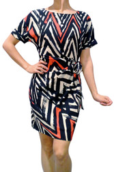 **SIZE SMALL ONLY** Black & Tan Chevron Print Dress with Knotted Middle!