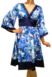 Silky Kimono Style, Belted Dress in Blue & Black Floral!