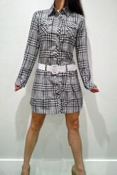 100% Cotton. Long Sleeve Dress with Belt! Grey Plaid.