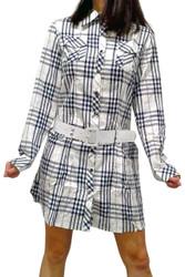100% Cotton. Long Sleeve Dress with Belt! Blue Plaid.