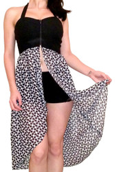 Corset Style Dress with Zipper and Black & White Geo Print Skirt!