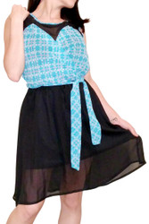 Blue Plaid Dress with Belt and Mesh Lace!