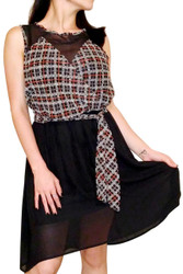 Brown Plaid Dress with Belt and Mesh Lace!