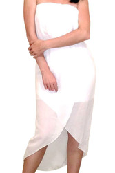 White Strapless Dress with Ruffled Chiffon!