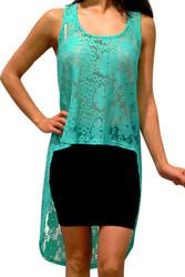Lace, Hi-Low Dress with Cutout Back! Mint.
