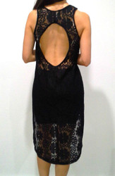 Lace, Hi-Low Dress with Cutout Back! Black.