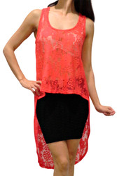 Lace, Hi-Low Dress with Cutout Back! Coral.