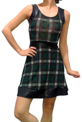 Green Plaid Dress with Faux Leather Band & Trims!