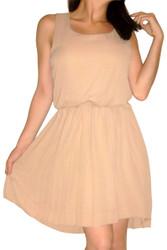 Mocha Brown Dress with Accordion Pleats.