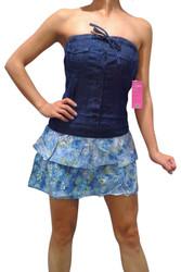 100% Cotton Denim Tube Top Mini-Dress with Floral Skirt!