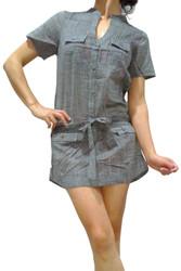 100% Cotton Denim Grey Shirt Dress with Belt!
