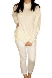Ultra-Soft, Cream White Cardigan Sweater with Zipper in Back. From Crystal-Kobe!