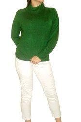 Ultra-Soft, Deep Green Cardigan Sweater with Zipper in Back. From Crystal-Kobe!