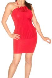 Cranberry Red Halter Bodycon Dress with Tie Neck & Flower!