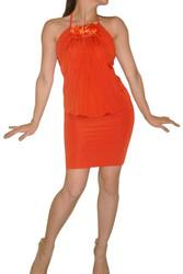 Orange Halter Bodycon Dress with Tie Neck & Flower!