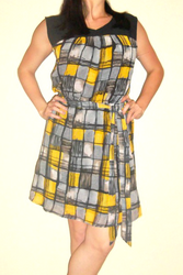 Belted Dress with Black Chiffon and Yellow/Grey Geo Plaid!