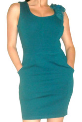 Teal Sleeveless Bodycon Dress with Flower Accents! 65% Cotton.